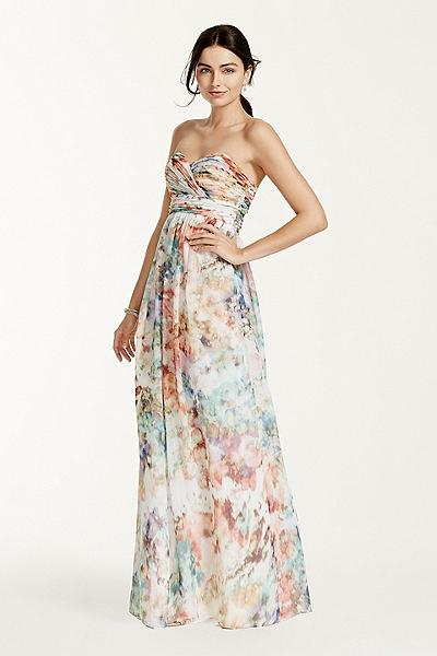 David's Bridal - Strapless Printed Chiffon Dress Style